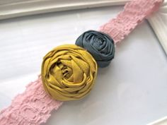 Mustard and Midnight fabric flower headband by HappyLittleLovelies, #happy #little #lovelies #fabric #flower