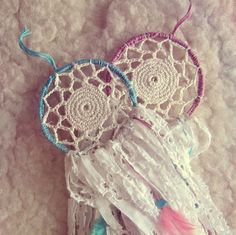 Two Gypsy Twins bohemian mini dreamcatchers set in dusty pastel turquoise and pink colors  Made of metal hoops, cotton yarn, laces, turquoise and