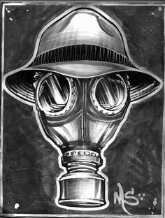 Psycho Realm Gasmask Art by Johnny Garza! http://www.malasuertecompania.com