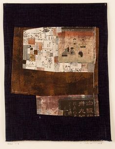 Yuko Kimura - Prints and Collages: Baba with Doll Patterns, etching on silk, thread, old Japanese book pages, 15.5 in x 12 in, 2008