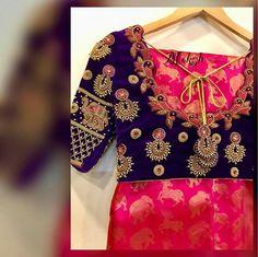A veru unique weave . Wedding Saree Blouse Designs, Pattu Saree Blouse Designs, Maggam Work Designs, Designer Blouse Patterns, Designer Dresses, Blouse Back Neck Designs, Blouse Models, Indian Designer Wear, Fancy