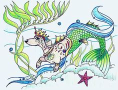 Daschund, Dachshund Love, Coloring Book Art, Adult Coloring, Dachshunds, Mermaids, Just In Case, Tatting, How To Draw Hands