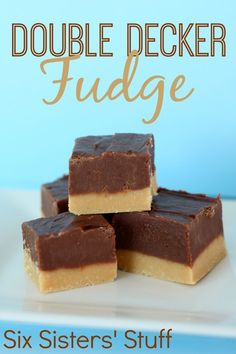 Double Decker Chocolate Peanut Butter Fudge from SixSistersStuff.com - a family tradition every Christmas!