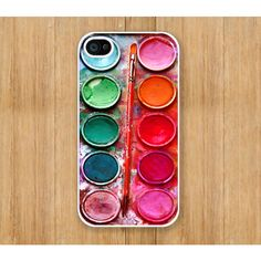Watercolor Round painting Box, palette Design on White Iphone 4 case,... ($3.88) ❤ liked on Polyvore