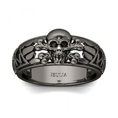Jeulia Hollow Round Cut Created Black Diamond Skull Ring - Jeulia Jewelry