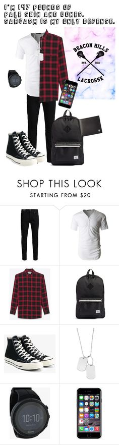 """""""Teen Wolf: Stiles Quote"""" by beck-bows-and-ribbons ❤ liked on Polyvore featuring Jack & Jones, LE3NO, Yves Saint Laurent, Herschel Supply Co., Converse, Variations, Suunto, Off-White, Victorinox Swiss Army and men's fashion"""