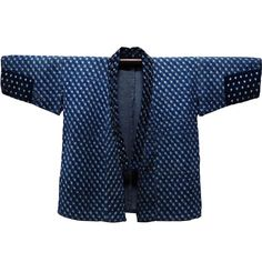 Lady Farmer's Jacket Indigo Cotton Kasuri Covered With Sashiko Stitching