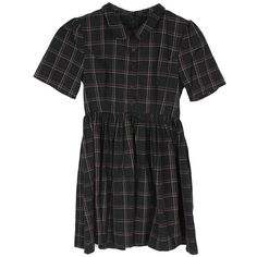 Stylenanda Women's Checkered Mini Dress with Puff Sleeve (54.470 CLP) ❤ liked on Polyvore featuring dresses, black, black mini dress, short dresses, checked dress, mini dress and short black dresses