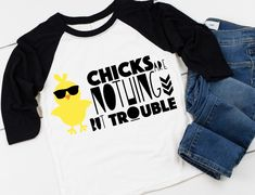 Chicks Are Trouble Shirt Raglan Tee, Easter Pillows, Bring It On, Shirt Ideas, Tees, T Shirt, Shopping, Projects, Gifts