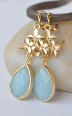 Pale Blue Teardrop and Gold Cherry Blossom Bridesmaid Earrings