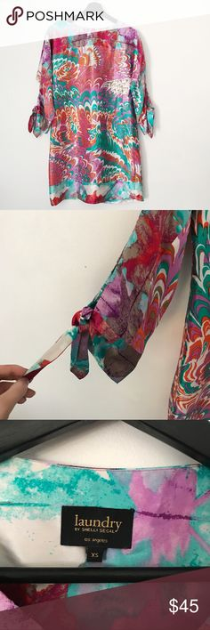 Laundry by Shelli Segal Silk Watercolor Dress Stunning 100% silk multicolor watercolor print dress from Laundry. Size XS. Excellent condition. No trades or try ons! Laundry by Shelli Segal Dresses