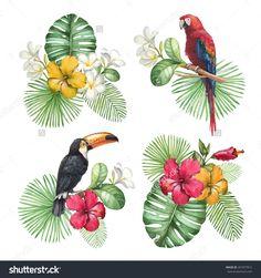 Resultado de imagen para watercolor tropical