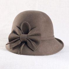 Elegant Women Chocolate Brown Wool Dress Derby Hats for Church SKU-158249