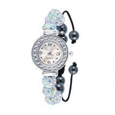RELÓGIO COM SWAROVSKI NEON - Relógio Quartz com pulseira estilo Shamballa com Swarovski brancos. Tamanho do relógio: 2,3cm. Pulseira com 1,1cm de espessura. Pode ser aberta de 17cm até 28cm. Só R$ 65,00!!
