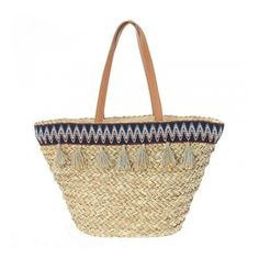 Straw beach bag with zipper, with beige tassels, with fabric and pu details, in beige colour and in size: cm Boho Inspiration, Beige Color, Straw Bag, Tassels, Sewing, Beach, Fabric, Collection, Denim