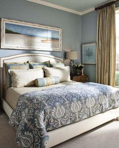 Blue bedroom- really like this tone of blue on walls. Love this bedroom!
