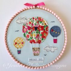 Items similar to Hot air balloon embroidery hoop on Etsy