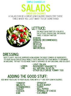 Salads under 200 Calories Food: Salad (CTS) Healthy Salads, Healthy Habits, Get Healthy, Healthy Choices, Healthy Eating, Healthy Recipes, Quick Recipes, Healthy Foods, Clean Eating