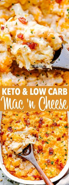 Keto Mac and Cheese - Creamy ultra cheesy and super indulgent Keto Mac and Cheese prepared with cauliflower bacon and cheddar cheese! Just because you're on a Low Carb or Keto diet it doesn't mean you should forget about your favorite childhood meal. Keto Mac And Cheese, Cauliflower Mac And Cheese, Cauliflower Recipes, Cheddar Cheese, Cauliflower Carbs, Keto Cauliflower Casserole, Low Carb Keto, Low Carb Recipes, Cooking Recipes