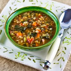 Double Lentil, Sausage, Brown Rice, and Spinach Soup Recipe