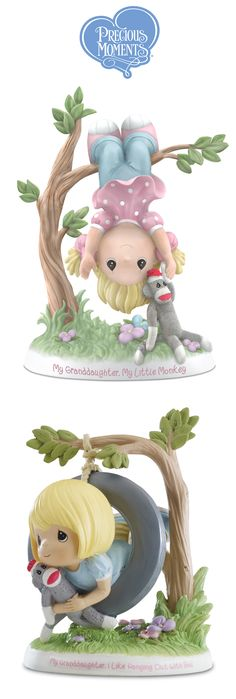 Celebrate your granddaughter's playful spirit with this Precious Moments Granddaughter, My Cute Little Monkey Figurine.