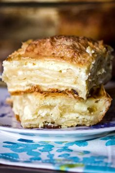 Sweet Cheese Slab Pie is a traditional Romanian pie that is made with layers of phyllo dough sheets and farmer cheese(or ricotta). Easy to make, delicious and perfect for any occasion. Ricotta Dessert, Pie Dessert, Dessert Recipes, Desserts, Scottish Recipes, Turkish Recipes, Romanian Food, Romanian Recipes, Phyllo Dough Recipes