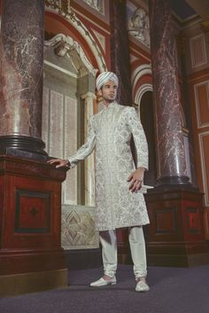 Heavily beaded mens sherwani by Cuckoo Fashion  T: +44(0)208 470 4000 E: enquires@cuckoofashion.com W: cuckoofashion.com  As seen in the Summer 2013 Issue of Khush Wedding Magazine