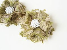 Green Lace Fabric Flowers Hair Clips Women Accessories by nurichant #hairaccessories #hairflower #hairclips