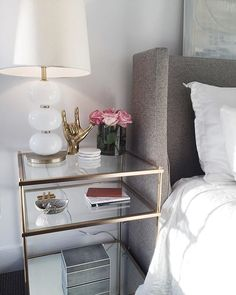 Get inspired by these glass nightstand ideas for your master decoration! Nightstand Ideas, Dresser Mirror, Unique Nightstands, Mirror Bedside Table, Round Nightstand, Gold Dresser, Bedroom Dressers, Trendy Bedroom, Home Decor Ideas