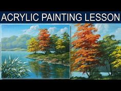 Acrylic Painting Lesson   Autumn in the River by JM Lisondra - YouTube
