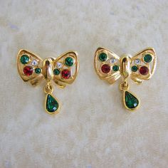 Lia Christmas Dangle Bow Rhinestone Gold Tone Pierced Earrings Red Green Clear by Charmcrazey on Etsy