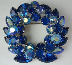 Beautiful Vibrant Sapphire Blue AB Rhinestone Vintage Brooch