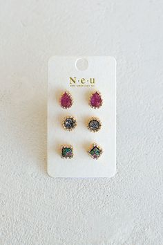The best things in life come in three's so give yourself (or someone) else the best gift ever! Add these red and green druzy stud earrings to your collection for a versatile go-to piece. Post style ba