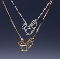 Cut-Out Forest Squirrel Necklace in silver / gold
