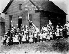 Washington's Birthday at Hoult one room school in Marion Co, WV--ca 1906--EWVAIH