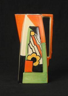 A really superb vintage wadeheath art deco pottery jug - jazzy