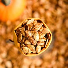 Homemade Roasted Cinnamon Sugar Pumpkin Seeds Recipe! Don't throw away the seeds when you carve pumpkins this year! Save them and make this recipe for the perfect sweet and salty fall snack! Vegan, gluten-free and dairy-free! and paleo-friendly! #pumpkin #pumpkinseeds #homemade #healthy #recipe #glutenfree #dairyfree #vegan #cinnamonsugar #paleo Cinnamon Sugar Pumpkin Seeds, Pumpkin Seed Recipes, Homemade Buffalo Sauce, Homemade Barbecue Sauce, Baked Buffalo Cauliflower, Baked Artichoke, Paleo, Keto, Baked Avocado