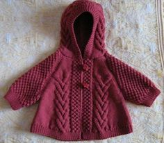French language Ravelry: 675 cape et moufles pattern by Bergère de Francelovely hooded cardi w/ intricate cable textureSpring Knit Baby Sweater Cardigan Cable With Wooden Buttons For Baby Boys And GirlsSo effing cute.The colour alone is brilliant! Knitting For Kids, Baby Knitting Patterns, Baby Patterns, Knitting Projects, Hand Knitting, Knitting Ideas, Knit Baby Sweaters, Knitted Baby Clothes, Baby Knits