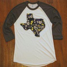 Handmade Texas Outline Baseball Tee Midnight by BeauandArrowUSA