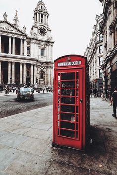 Red telephone box in London, UK