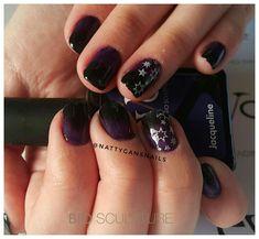 Bio Sculpture Evo Jacqueline black and purple ombre with white stars Bio Sculpture Gel, Purple Ombre, Evo, Nail Art, Stars, Nails, Beauty, Black, Finger Nails