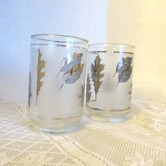 Vintage Silver Leaf Juice Glasses by Libbey by vintagepoetic on Etsy