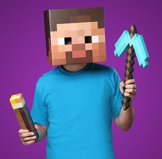 Minecraft costume set that includes a light up torch, heavy duty foam pickaxe, and realistic Steve mask. http://www.walletburn.com/Minecraft-Steve-Bundle_713.html #minecraft #gamer #giftideas