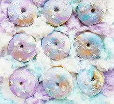 unicorn, donuts, and food image Delicious Donuts, Delicious Desserts, Donut Recipes, Whole Food Recipes, Cooking Recipes, Unicorn Foods, Cute Donuts, Cute Desserts, Cookies And Cream