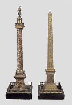 A pair of century Grand Tour Souvenirs representing The Vendôme Column and the Obelisk from the Concord Place, Paris. Home Libraries, Architectural Models, Grand Tour, Black Marble, Decoration, Paris France, Vases, 19th Century, Sculptures