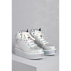 f16831ae7c59 This pair of Y.R.U. Qozmo high-top sneakers features a silver hologram faux  leather upper