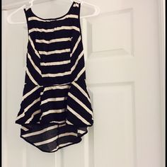 Striped Peplum High/low ❌no trades. ❌no PayPal.. Very accentuating top. Pair it with anything. High low effect. No stains, rips or holes. Tops