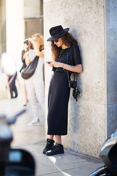 #allblack hat, maxi skirt + cropped top seen in #NYC     |      Styletorch.com