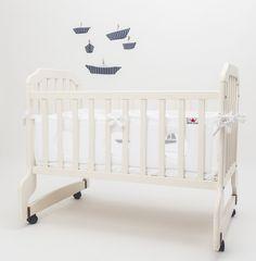 Baby Crib Bumper Net Windows Sailing Boats , Bed Bumper ,pure White ,infant…
