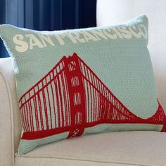 SAN FRANCISCO CREWEL EMBROIDERED PILLOW